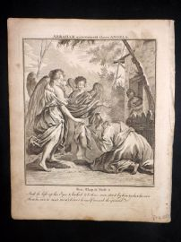 Butley 1762 Antique Religious Print. Abraham entertaineth three Angels